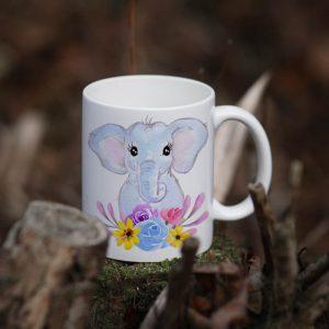 Kubek Słoniątko w kwiatach Akwarelowe