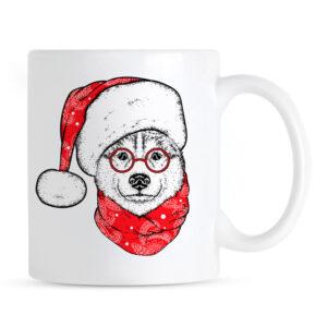 Kubek Świąteczny z psem Husky