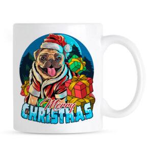 Kubek na Boże Narodzenie z psem rasy Mops