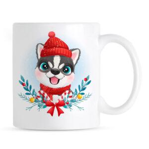 Kubek na Boże Narodzenie z psem Husky