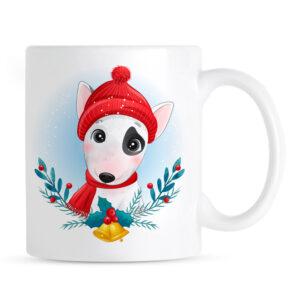 Świąteczny Bulterier Kubek Ceramiczny