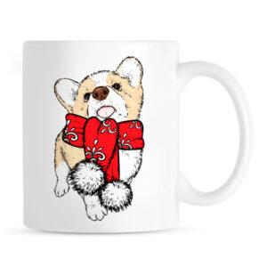 Kubek na Boże Narodzenie z psem rasy Welsh Corgi