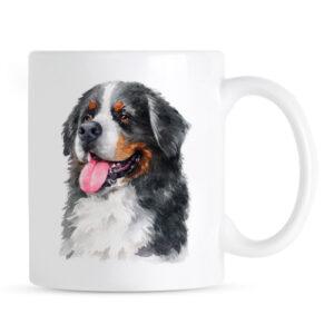 Kubek Berneński Pies Pasterski Portret Akwarelowy