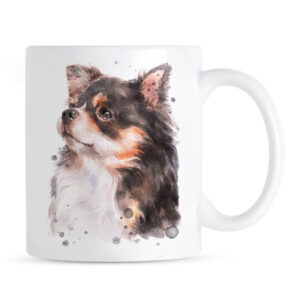 Kubek Chihuahua Długowłosa Portret Akwarelowy