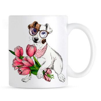 Kubek Jack Russell Terrier z Bukietem Kwiatów