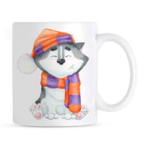 Kubek Siberian Husky Zimowy